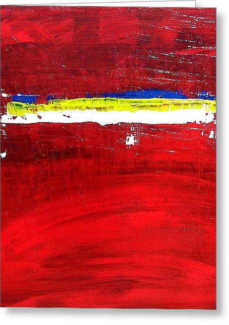 Greeting Card featuring the painting Mostly Red by Carolyn Repka