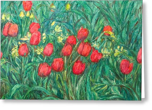 Greeting Card featuring the painting Mostly Tulips by Kendall Kessler