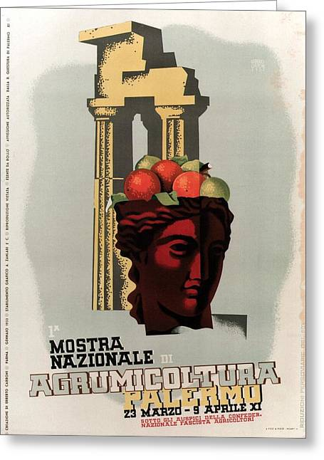 Mostra Nazionale Di Agrumicoltura, Palermo, Italy - Retro Travel Poster - Vintage Poster Greeting Card