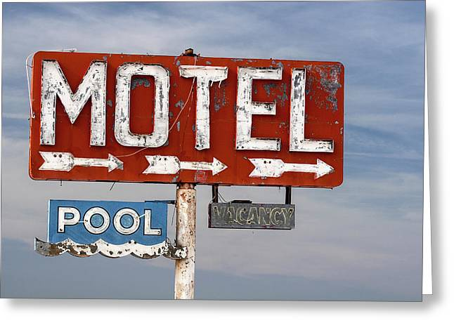 Motel And Pool Sign Route 66 Greeting Card by Carol Leigh