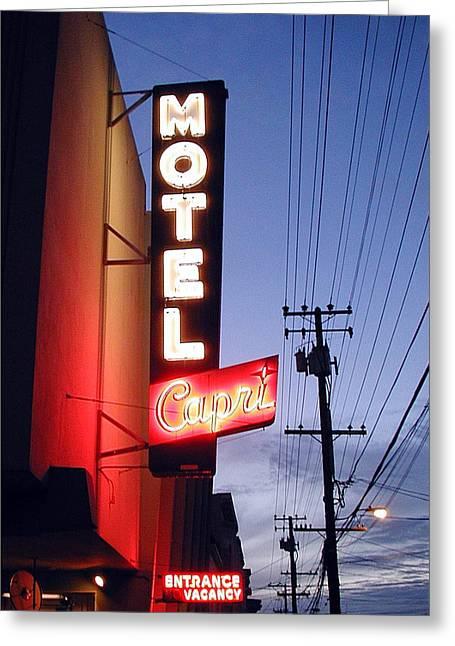 Motel Capri Greeting Card by Mark Stevenson