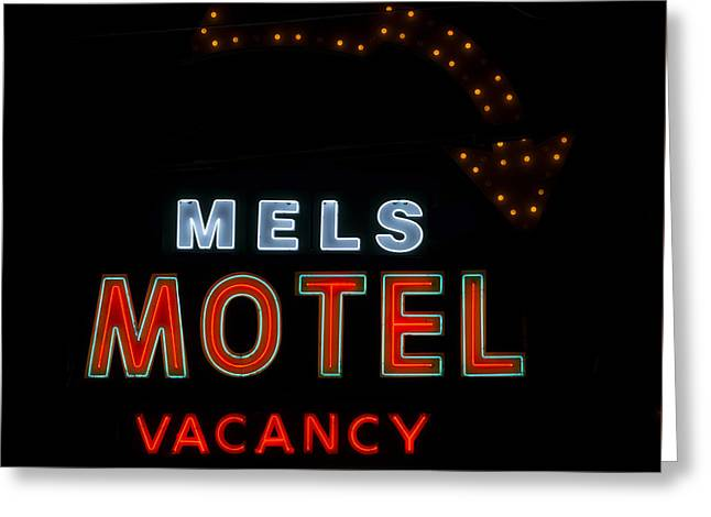 Motel Neon Sign Greeting Card by Mindy Sommers
