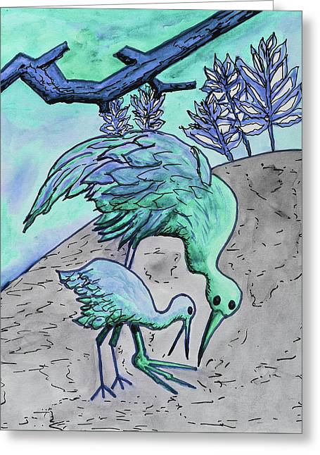 Mother And Baby Crane Abstract In Green Greeting Card