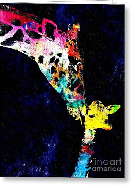 Mother And Baby Giraffe Grunge Greeting Card