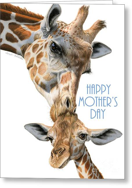 Mother And Baby Giraffe- Happy Mother's Day Cards Greeting Card by Sarah Batalka