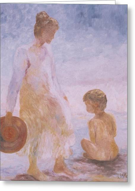Mother And Baby On The Beach Greeting Card
