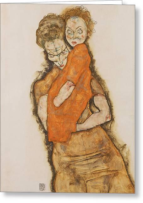 Mother And Child 1914 Greeting Card by Egon Schiele