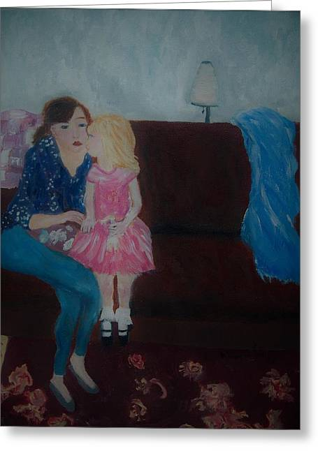 Greeting Card featuring the painting Mother And Child, by Aleezah Selinger