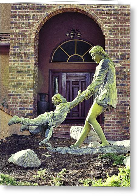 Mother And Child At Play Statue I Greeting Card