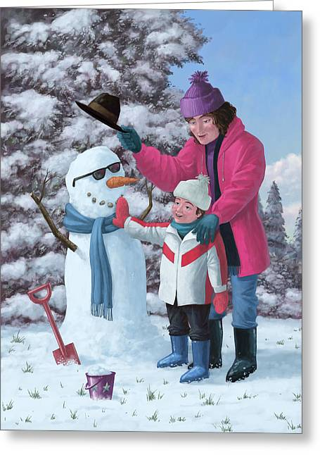 Playing Digital Greeting Cards - Mother And Child Building Snowman Greeting Card by Martin Davey