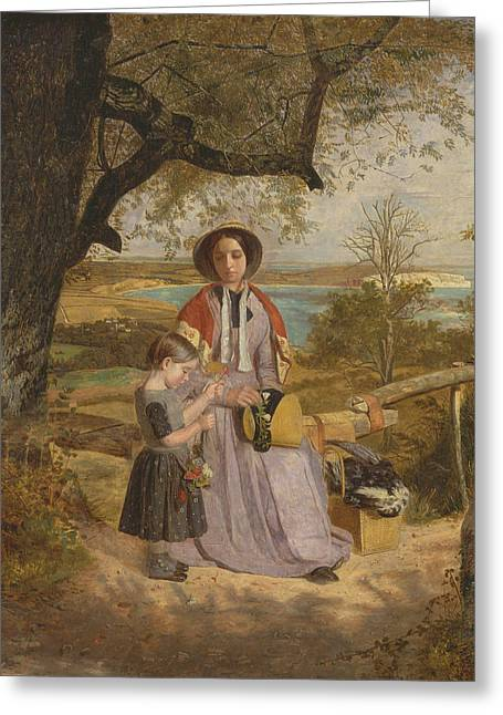 Mother And Child By A Stile, With Culver Cliff, Isle Of Wight, In The Distance Greeting Card