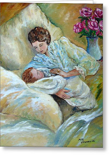 Mother And Child By May Villeneuve Greeting Card