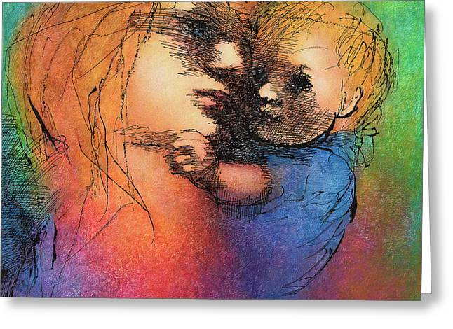 Mother And Child Greeting Card by Claire  Szalay Phipps