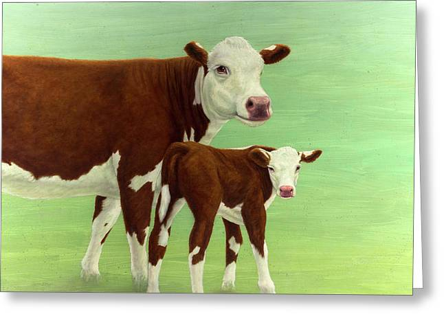 Mother And Child Cows Greeting Card