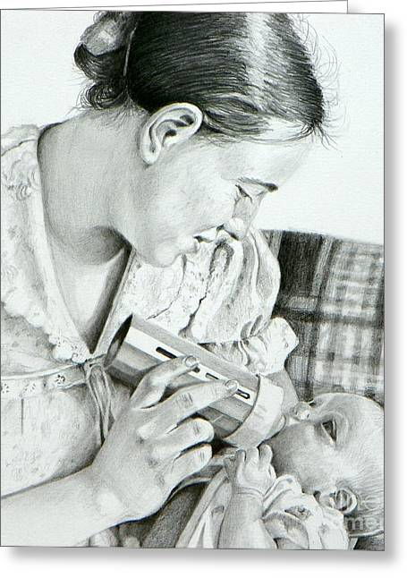 Mother And Child Greeting Card by David Ackerson