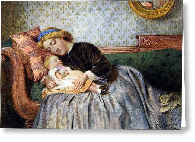 Mother And Child Greeting Card by George Goodwin Kilburne