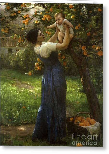 Mother And Child In An Orange Grove Greeting Card by Virginie Demont-Breton