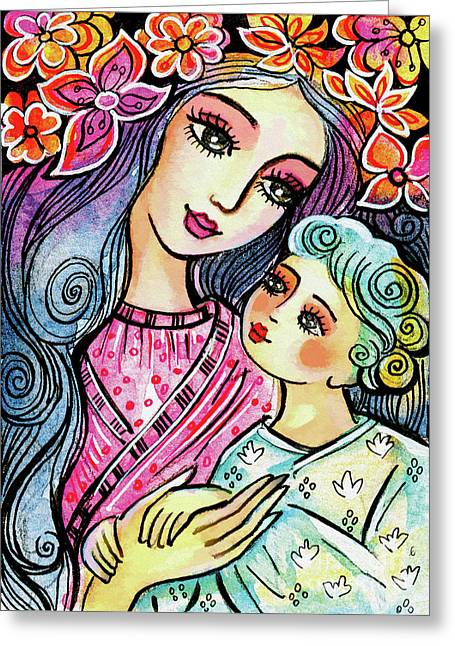 Greeting Card featuring the painting Mother And Child In Blue by Eva Campbell