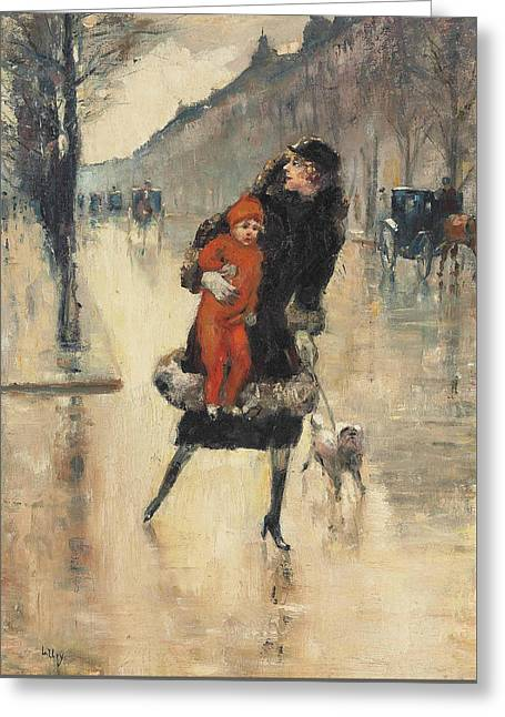 Mother And Child On A Street Crossing Greeting Card