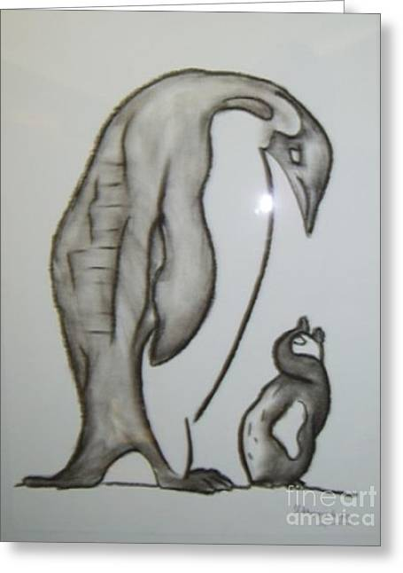 Mother And Child Penguins Greeting Card