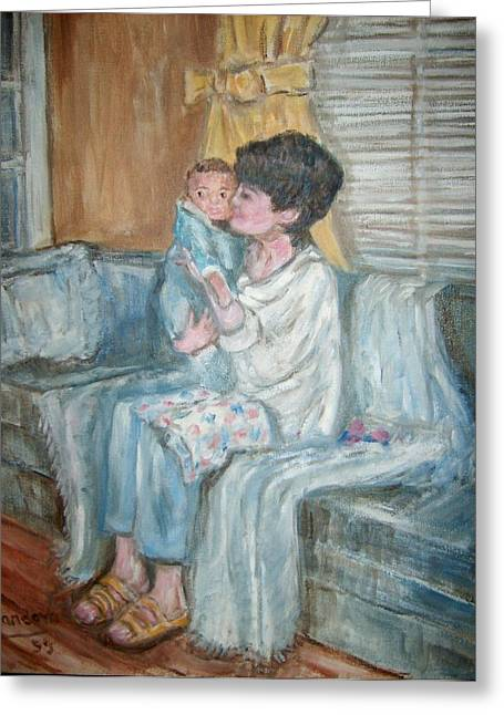 Mother And Child R Greeting Card by Joseph Sandora Jr