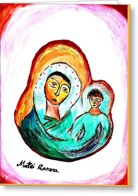 Greeting Card featuring the painting Mother And Child by Ramona Matei