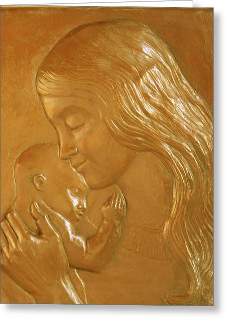 Mother And Child Relief  Greeting Card