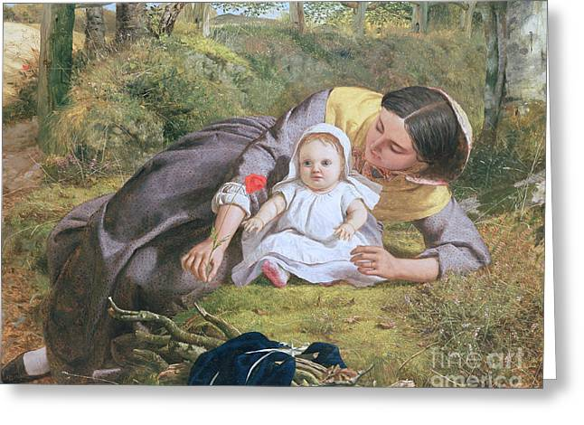 Mother And Child With A Poppy Greeting Card by Frederick Richard Pickersgill