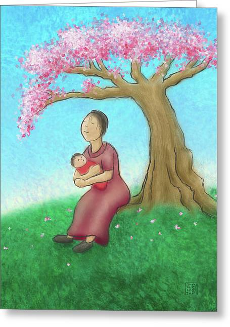 Mother And Child With Cherry Blossoms Greeting Card