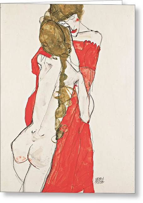 Mother And Daughter 1913 Greeting Card by Egon Schiele