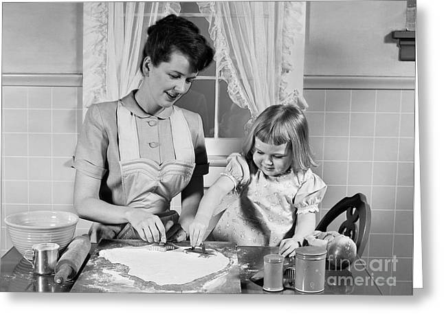 Mother And Daughter Baking Cookies Greeting Card by H. Armstrong Roberts/ClassicStock