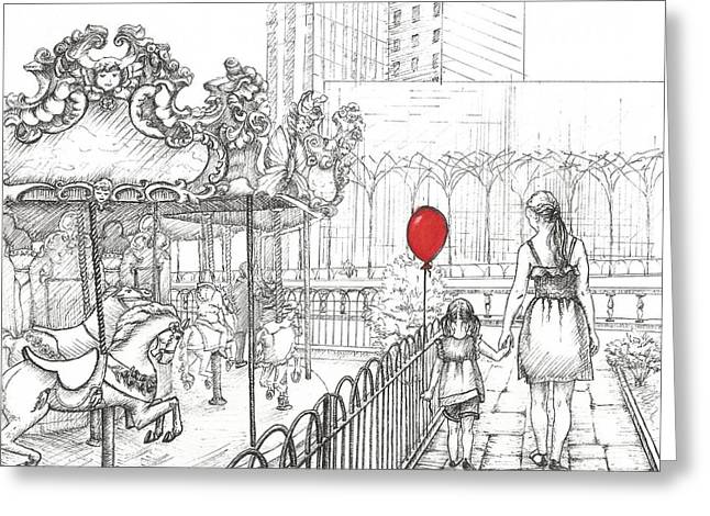 Carousel, New York. Mother And Daughter.  Greeting Card by Anna Giller