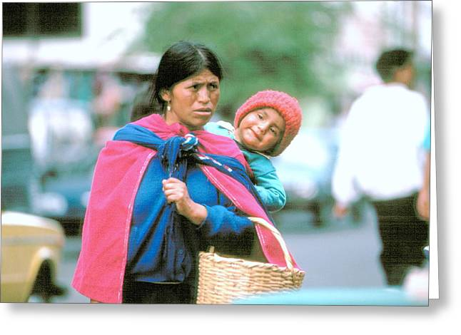 Greeting Card featuring the photograph Mother And Daughter Ecuador by Douglas Pike
