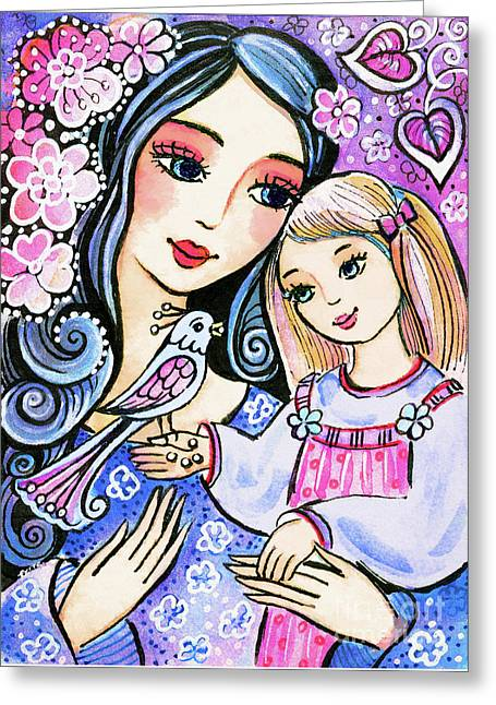 Greeting Card featuring the painting Mother And Daughter In Blue by Eva Campbell