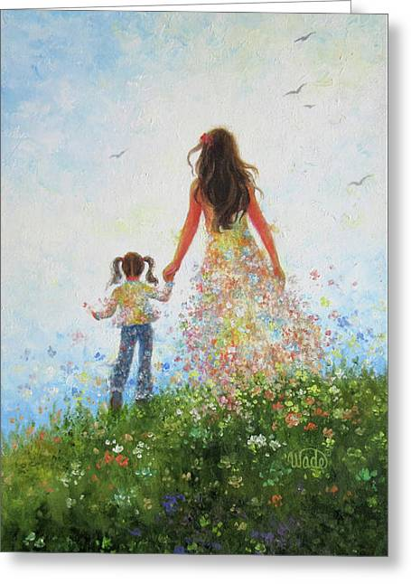 Mother And Daughter In Flowers Greeting Card