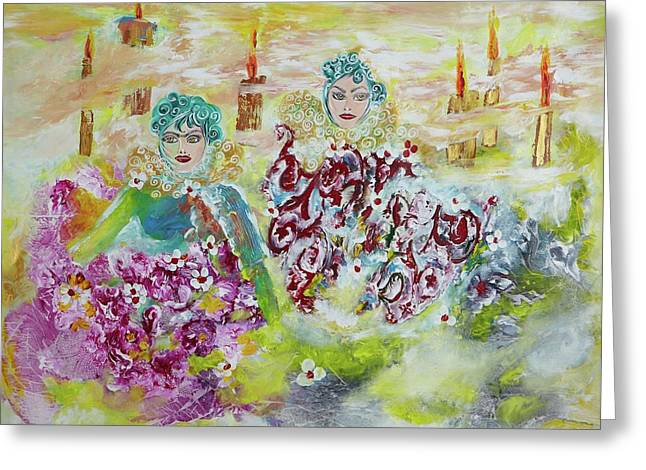 Greeting Card featuring the painting Mother And Daughter In Peace by Sima Amid Wewetzer