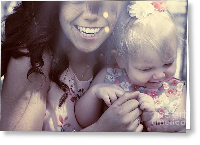 Mother And Daughter Laughing Together Outdoors Greeting Card