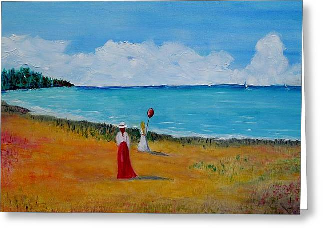 Greeting Card featuring the painting Mother And Daughter by Marilyn  McNish