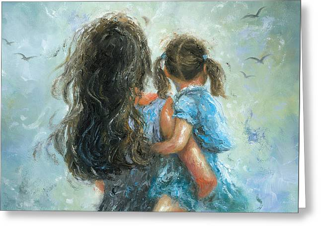 Mother And Daughter, Mommy Carry Me Greeting Card by Vickie Wade