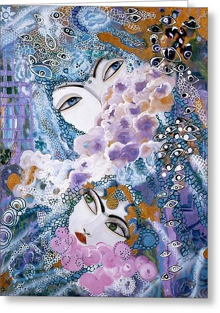 Greeting Card featuring the painting Mother And Daughter by Sima Amid Wewetzer