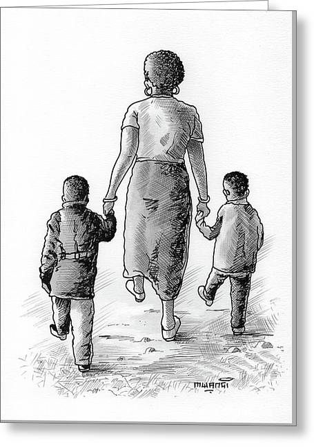 Mother And Kids Greeting Card by Anthony Mwangi