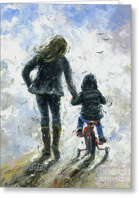 Mother And Son First Bike Ride Greeting Card by Vickie Wade
