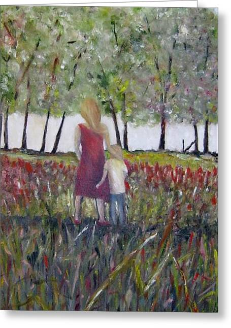 Greeting Card featuring the painting Mother And Son by Marilyn  McNish