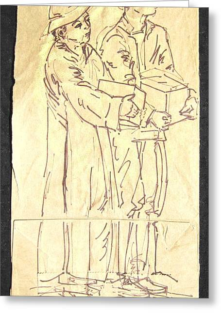 Mother And Son Greeting Card by Radical Reconstruction Fine Art Featuring Nancy Wood