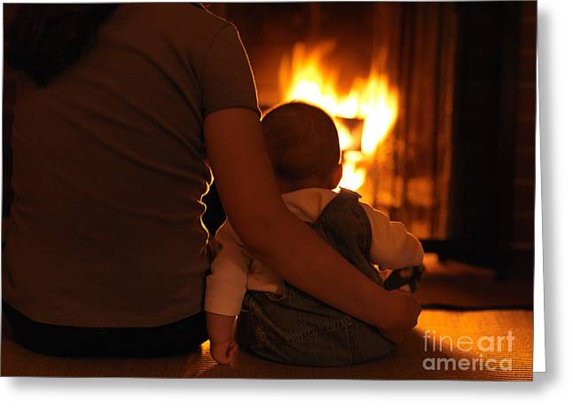 Mother And Son Sitting In Front Of A Firepalce Greeting Card by Oleksiy Maksymenko