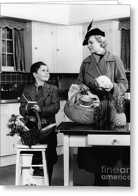 Mother And Son With Groceries, C.1930s Greeting Card
