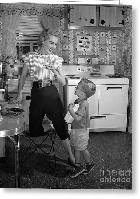 Mother And Son With Milk, C.1950s Greeting Card by Debrocke/ClassicStock