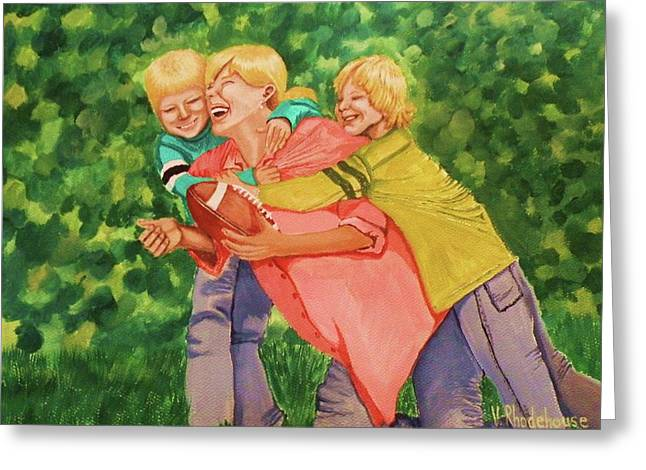 Mother And Sons Greeting Card