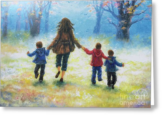 Mother And Three Sons  Greeting Card