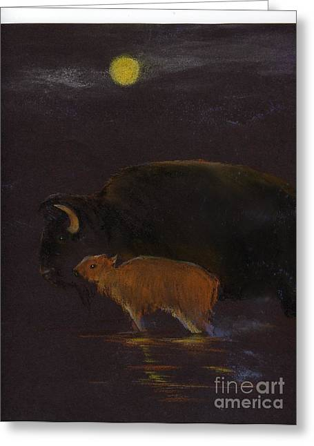 Mother Bison And Calf Greeting Card by Mui-Joo Wee